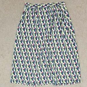 Womens S Flax Long Wrap Skirt Green Red Print